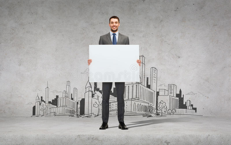 Download Smiling Businessman With White Blank Board Stock Image - Image: 40042705