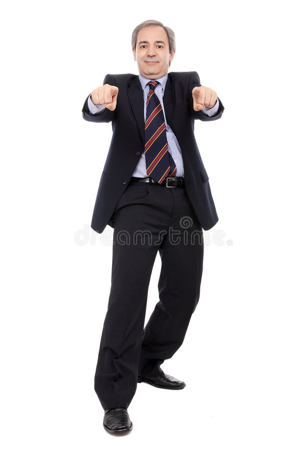 Free Smiling Businessman With Hands Pointing Royalty Free Stock Photos - 7747438