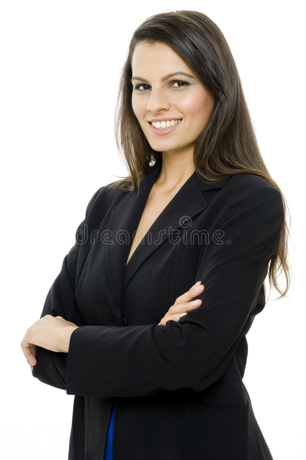 Smiling Businesswoman. An attractive businesswoman in suit on white background royalty free stock images