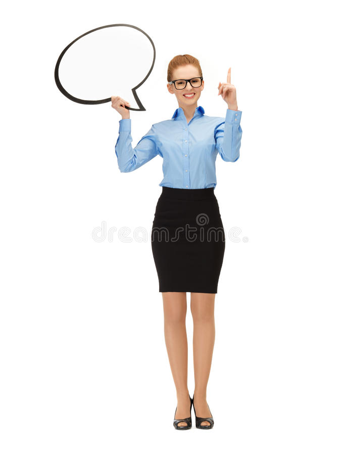 Download Smiling Businesswoman With Blank Text Bubble Stock Photo - Image of education, bubble: 39514542