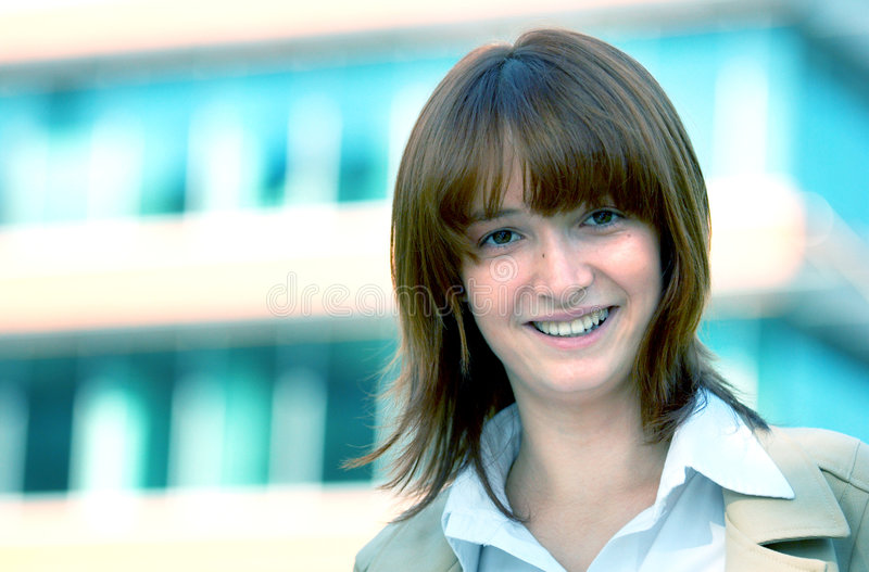 Smiling Businesswoman Blue Tint royalty free stock image