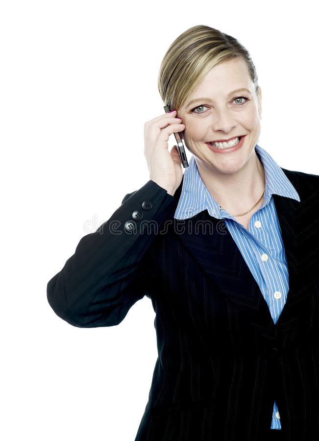 Download Smiling Businesswoman Communicating Stock Image - Image: 25841083
