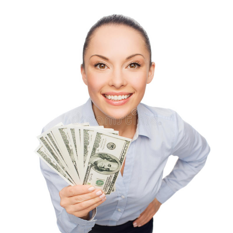 Smiling businesswoman with dollar cash money. Business, money and banking concept - smiling businesswoman with dollar cash money royalty free stock image