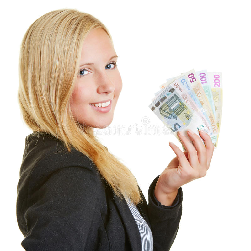 Smiling Businesswoman With Euro Money Fan Royalty Free Stock Photography