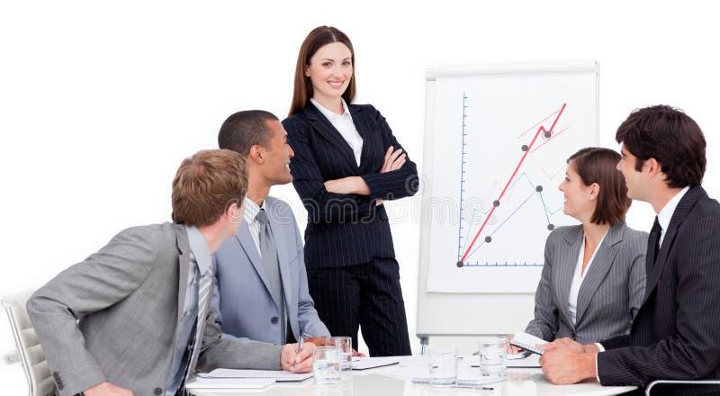 Smiling businesswoman giving a presentation stock photos