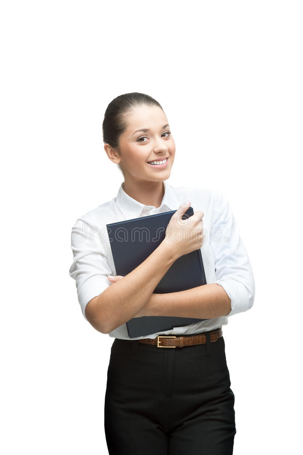 Download Smiling Businesswoman Holding Diary Stock Photos - Image: 28323763