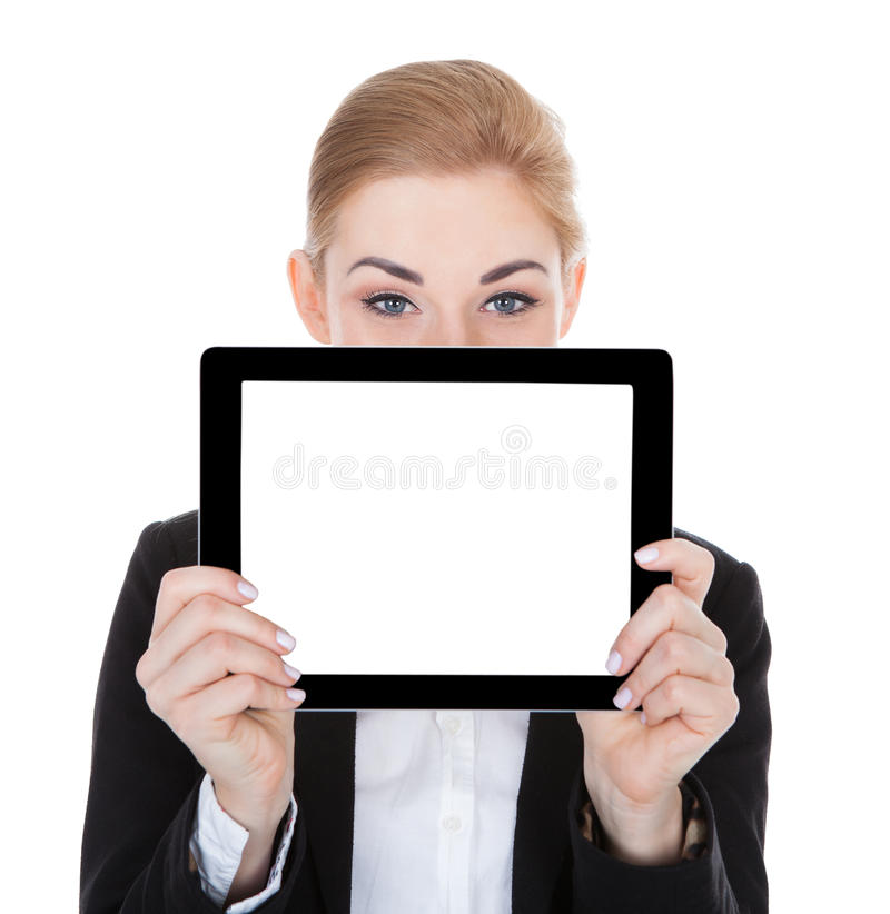 Smiling businesswoman holding digital tablet royalty free stock photos