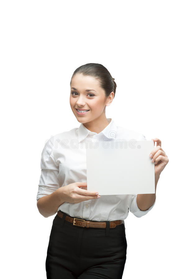 Download Smiling Businesswoman Holding Sign Royalty Free Stock Photos - Image: 28323758