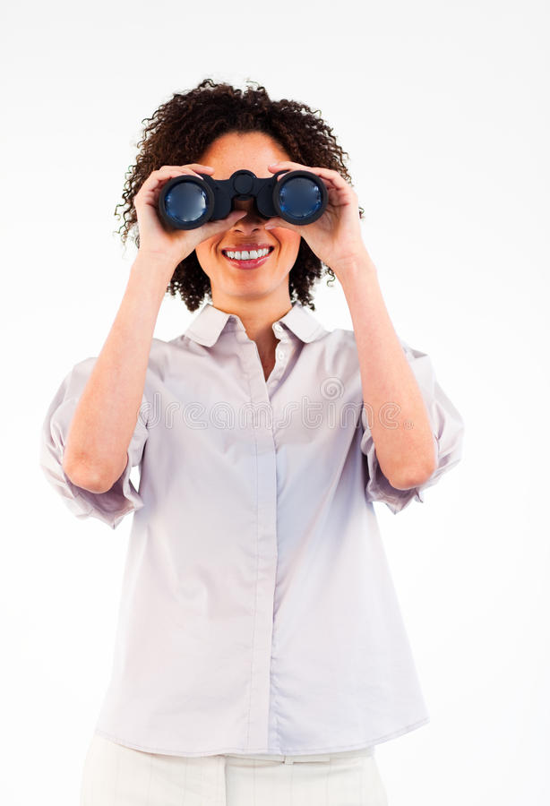 Download Smiling Businesswoman Looking Through Binoculars Stock Photo - Image of forecast, lens: 10485806