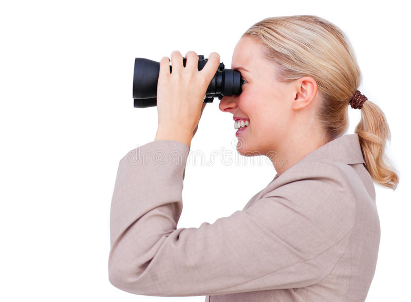 Smiling businesswoman looking to the future royalty free stock photo