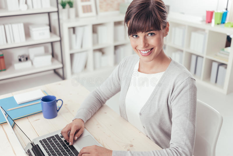 Smiling businesswoman portrait stock photos