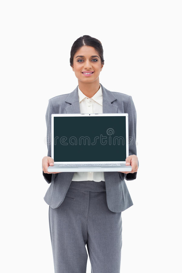 Download Smiling Businesswoman Showing Her Laptop Stock Photo - Image: 22861442