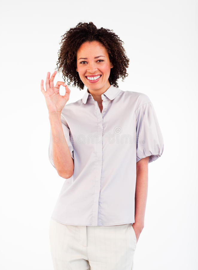 Download Smiling  Businesswoman Showing Okay Sign Stock Photo - Image: 10485812