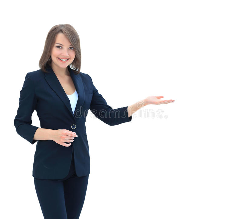 Smiling businesswoman showing open hand palm with copy space for stock images