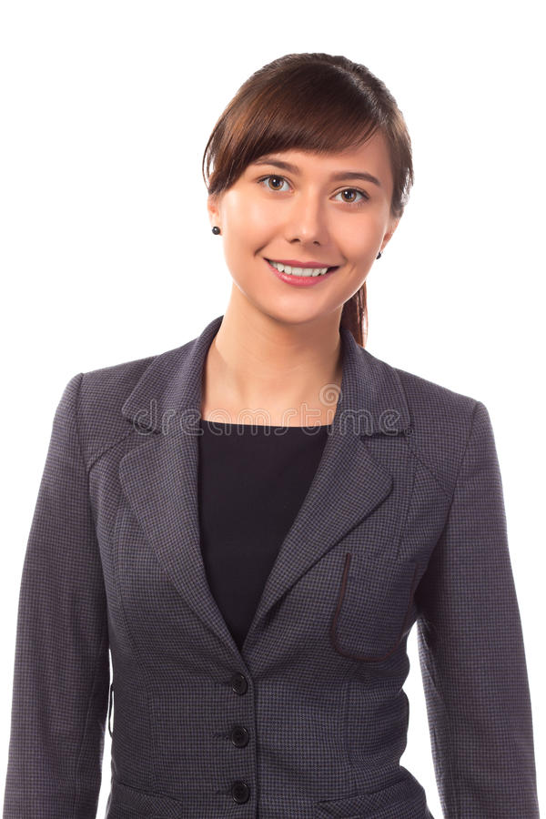 Smiling businesswoman or teacher isolated. On white background royalty free stock photos