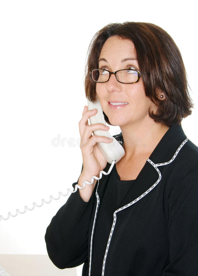 Download Smiling Businesswoman On Telephone Stock Image - Image: 12108521