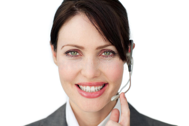 Download Smiling Businesswoman Using Headset Royalty Free Stock Photos - Image: 12224658