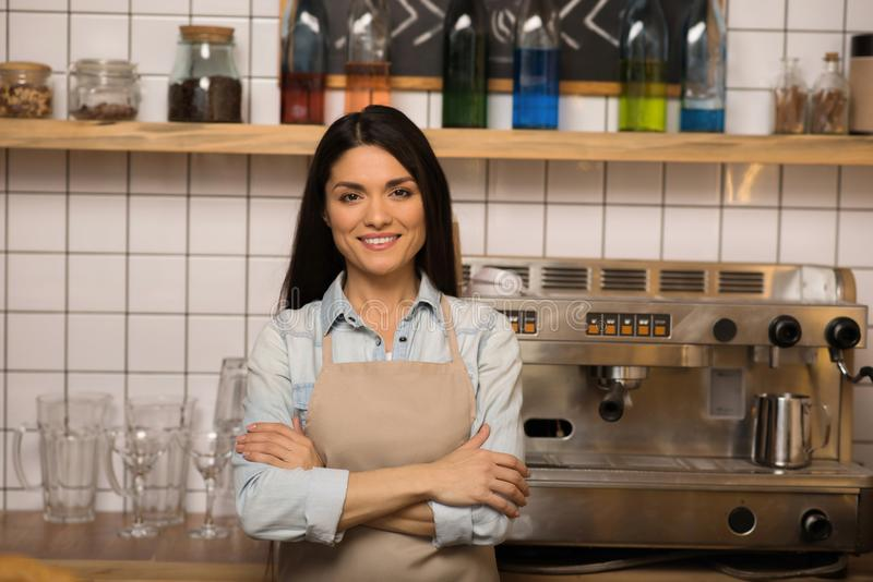 Smiling cafe owner with crossed arms stock photos