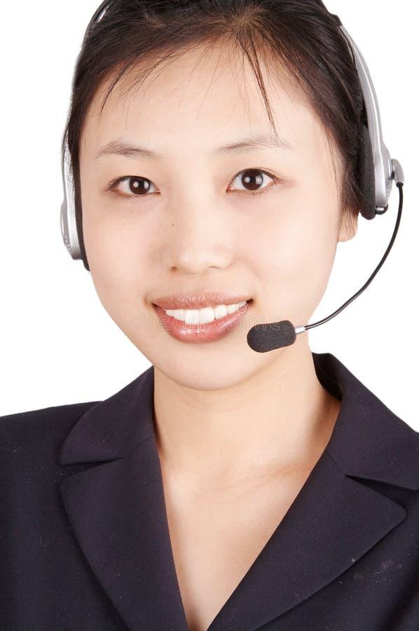 Smiling call center agent stock photos