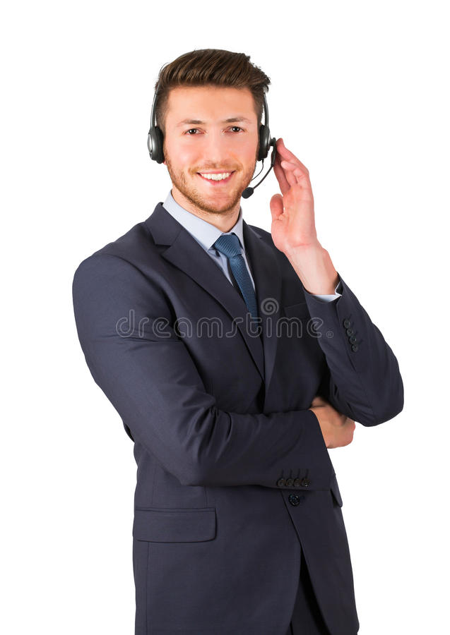 Smiling call center employee on white background isolated stock photos