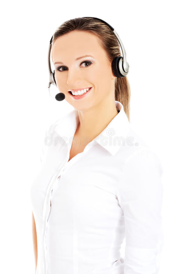 Smiling call center woman stock image