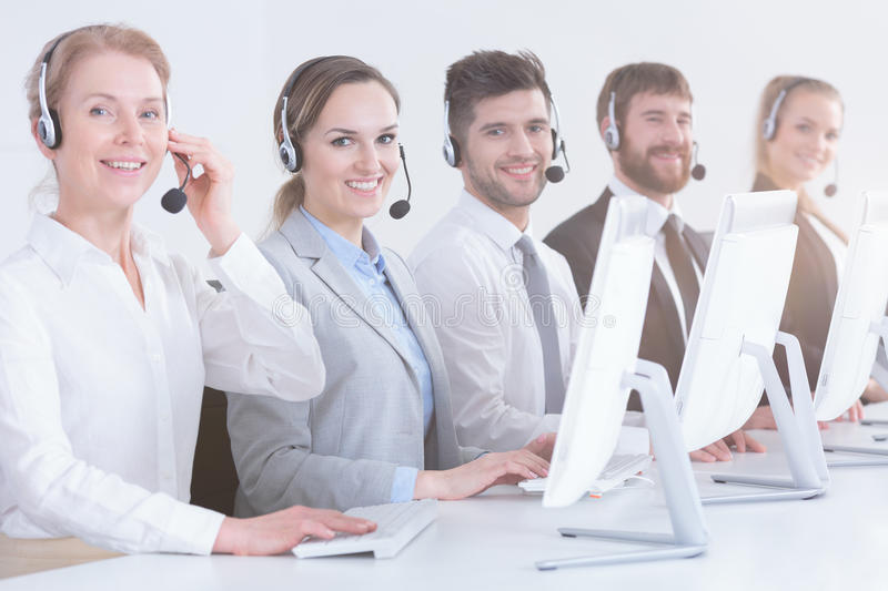 Call center workers in office royalty free stock image