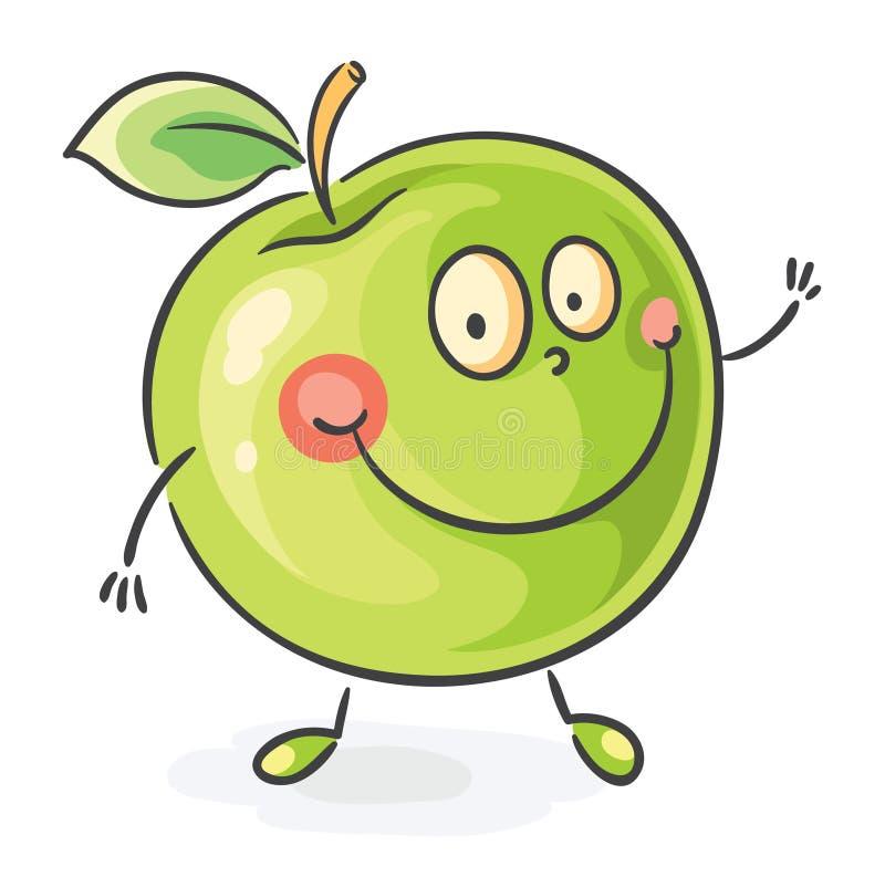 Smiling cartoon apple stock illustration