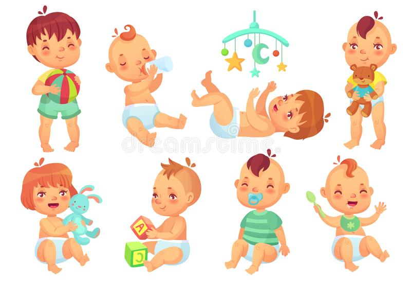 Smiling cartoon baby. Happy cute little kids playing with toys, small infant with pacifier and newborn children isolated vector illustration