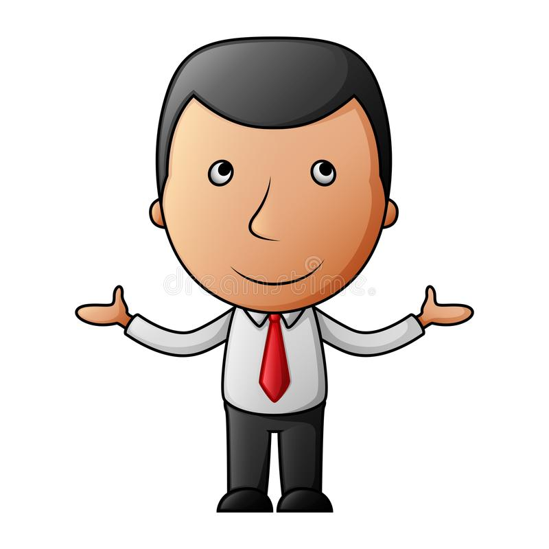 Smiling cartoon businessman opens his arms royalty free illustration