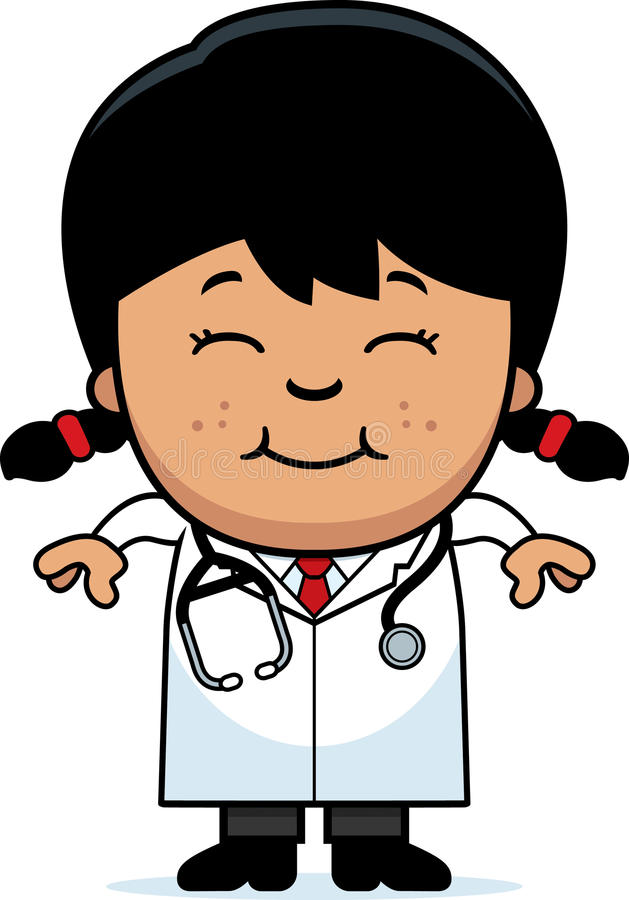 Smiling Cartoon Child Doctor. A cartoon illustration of a child doctor smiling stock illustration