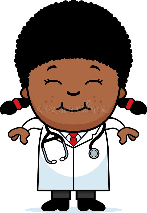 Smiling Cartoon Child Doctor. A cartoon illustration of a child doctor smiling vector illustration