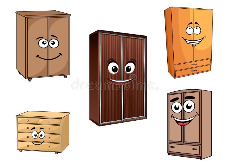 Smiling cartoon cupboards set stock illustration