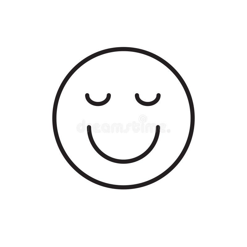 Smiling Cartoon Face Closed Eyes Positive People Emotion Icon royalty free illustration