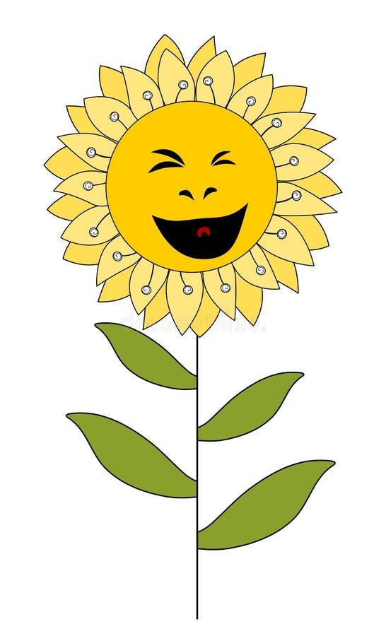 Smiling cartoon flower isolated on white stock illustration