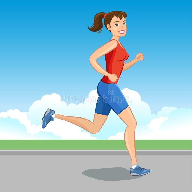 smiling cartoon girl jogging beautiful running woman vector stock rh dreamstime com cartoon girl running cartoon girl running