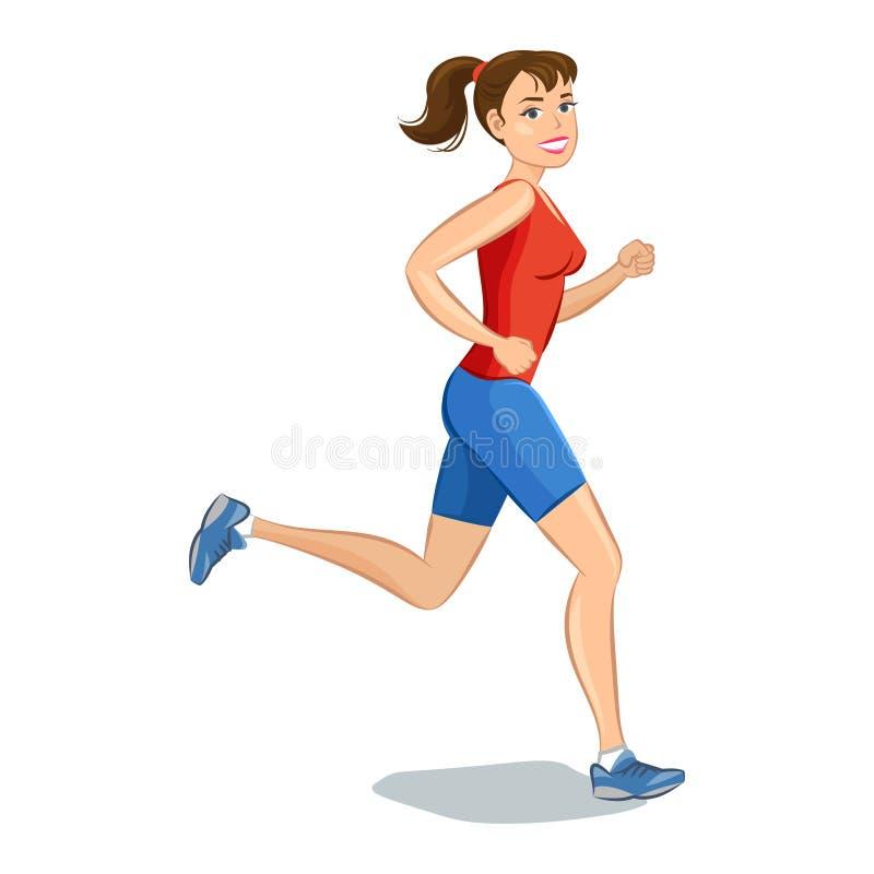 smiling cartoon girl jogging beautiful running woman stock vector rh dreamstime com cartoon girl running with dog cartoon girl running gif