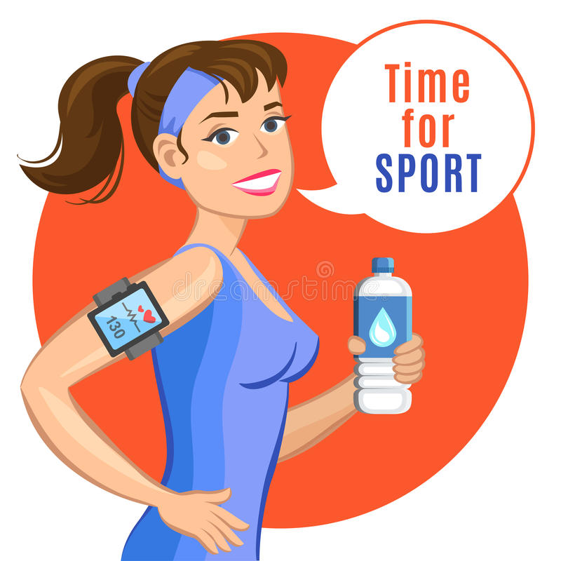 Smiling Cartoon Girl With Water, Says Let's Do Fitness