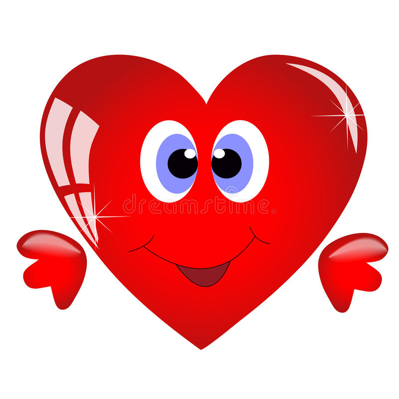 Smiling cartoon heart stock illustration