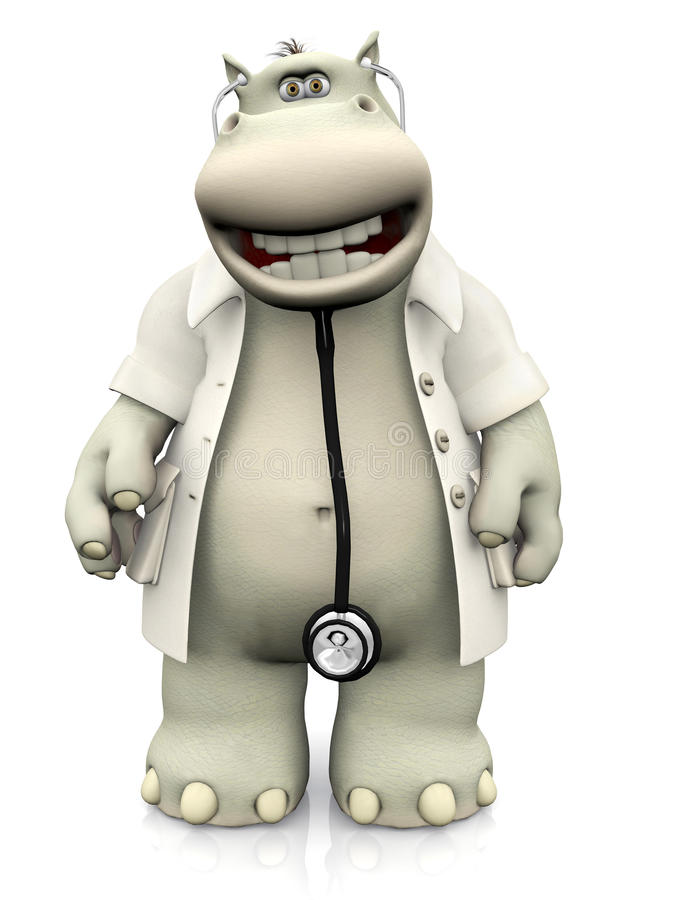 Free Smiling Cartoon Hippo Doctor. Royalty Free Stock Photography - 67516777
