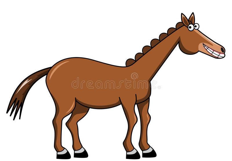 Smiling cartoon horse stock illustration