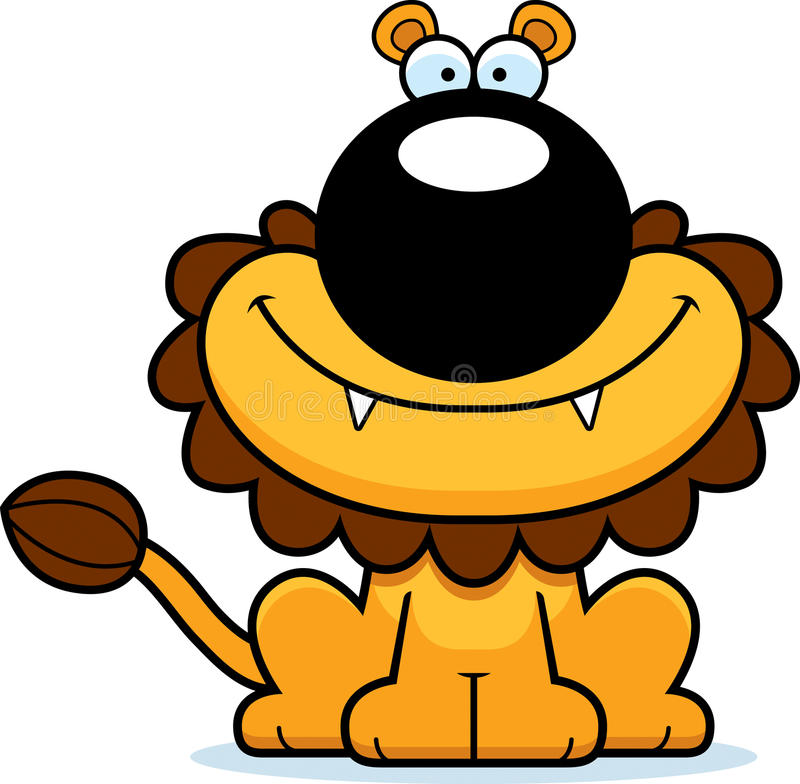 Smiling Cartoon Lion royalty free illustration