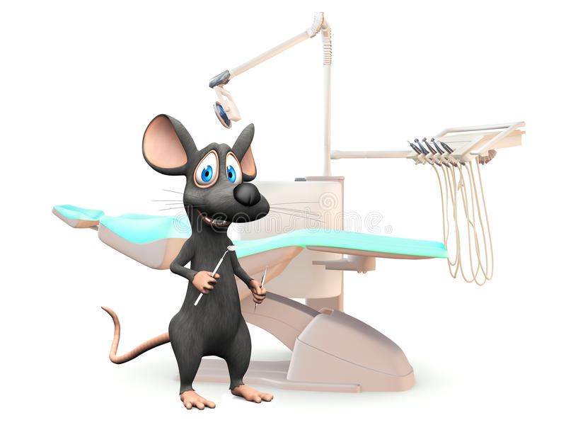 Smiling cartoon mouse at the dentist. vector illustration