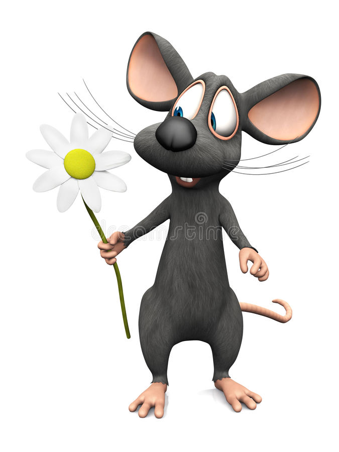 Smiling Cartoon Mouse Holding A Big Flower Stock