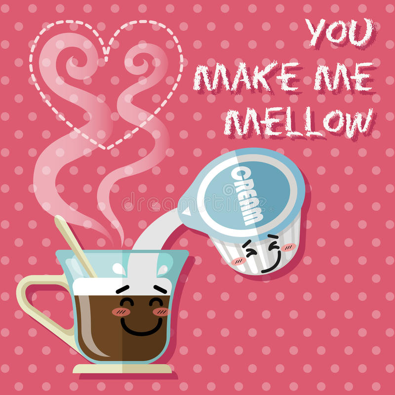 Free Smiling Cartoon On Coffee Cup And Coffee Creamer Stock Image - 57032951