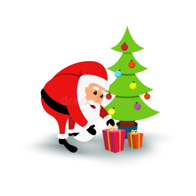 Smiling cartoon Santa Claus with gifts under green Christmas tree. Vector illustration vector illustration