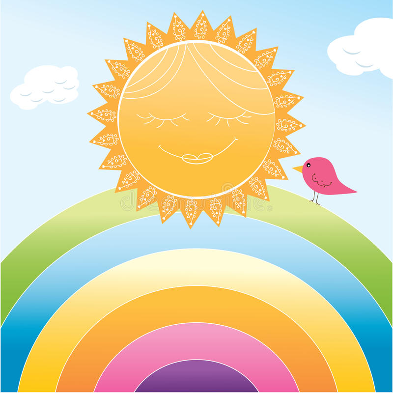 Cartoon sun and rainbow vector illustration