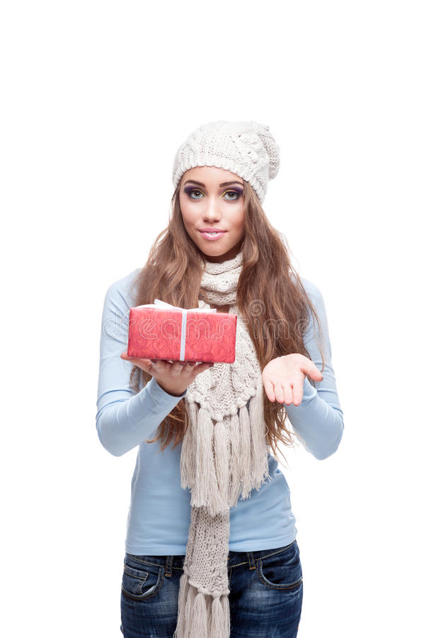 Download Smiling Casual Winter Girl Holding Christmas Gift Royalty Free Stock Photos - Image: 27665178