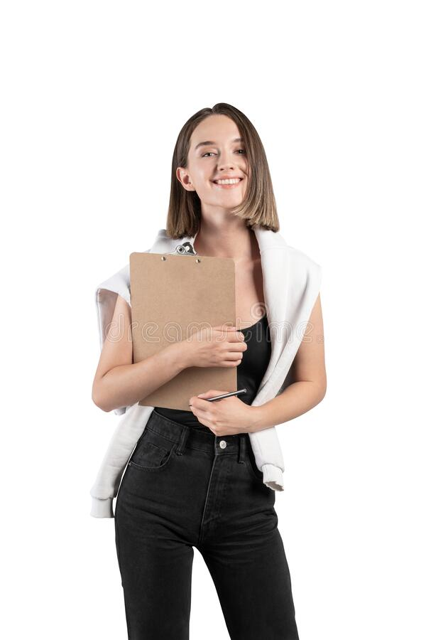 Smiling casual woman with clipboard, isolated royalty free stock photo