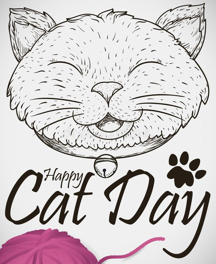 Smiling Cat Drawing and Wool Ball to Commemorate Cat Day, Vector Illustration. Poster with smiling cat wearing a collar and jingle bell in hand drawn style stock illustration