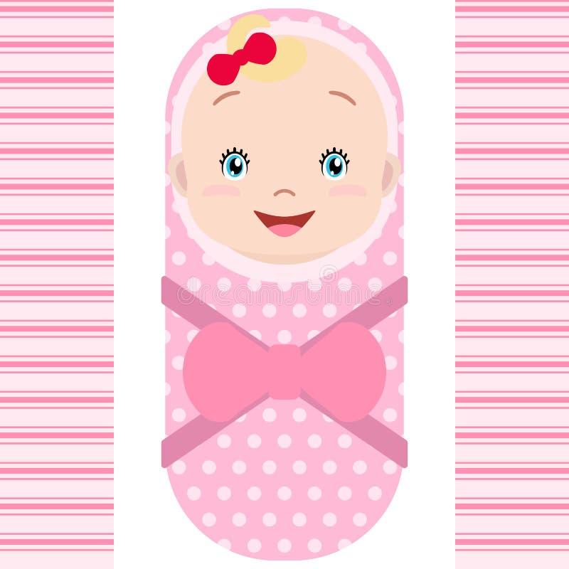 Smiling caucasian baby girl isolated on white background. Vector stock illustration